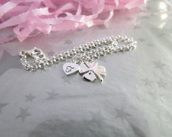 Sterling Silver Four Leaf Clover Charm Bracelet with Personalized Heart Initial Charm - Hand Stamped Jewelry by Gracie Jewellery