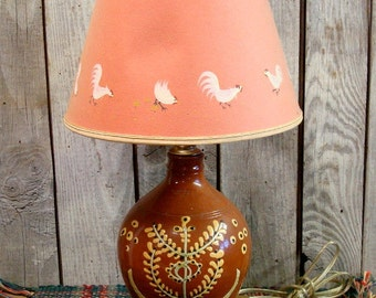 REDWARE POTTERY LAMP