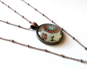 Vintage Inspired Floral Necklace- Glass Pendant Set in Copper Plated Tray- Comes with Chain- Red and Blue Flower Pendant- Unique, OOAK gift