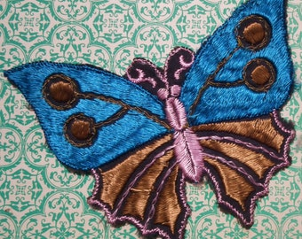 Vintage Applique 1920s 1930s Sew On Fabric Applique Butterfly Peacock Blue and Brown Silky Dress Trim Bronze Metallic Thread