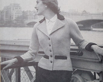 "Vintage 1940s 1950s Knitting Pattern Women's Jacket Cardigan Short Fitted Style with Collar 40s 50s original pattern P & B No 97 UK 34"" bust"