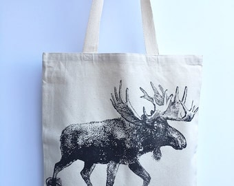 MOOSE in Snowshoes- Eco-Friendly Market Tote Bag - Hand Screen printed (Ships FREE!)