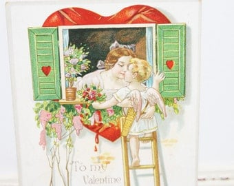 Vintage Valentine's Day Postcard, Vintage Postcard, Valentine Postcard, Cupid, Angel, Cherub with Bows and Arrows kissing in the window 1909