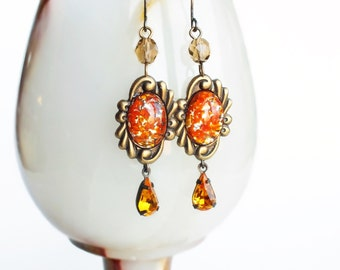 Orange Glass Earrings Victorian Vintage Foiled Glass Lampwork Opals Antique Brass Dangles Orange Yellow Glamorous Victorian Jewelry
