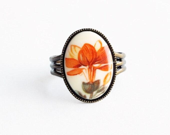 Orange Flower Ring Tangerine Floral Ring Vintage Cameo Ring Adjustable Antique Brass Victorian Floral Jewelry