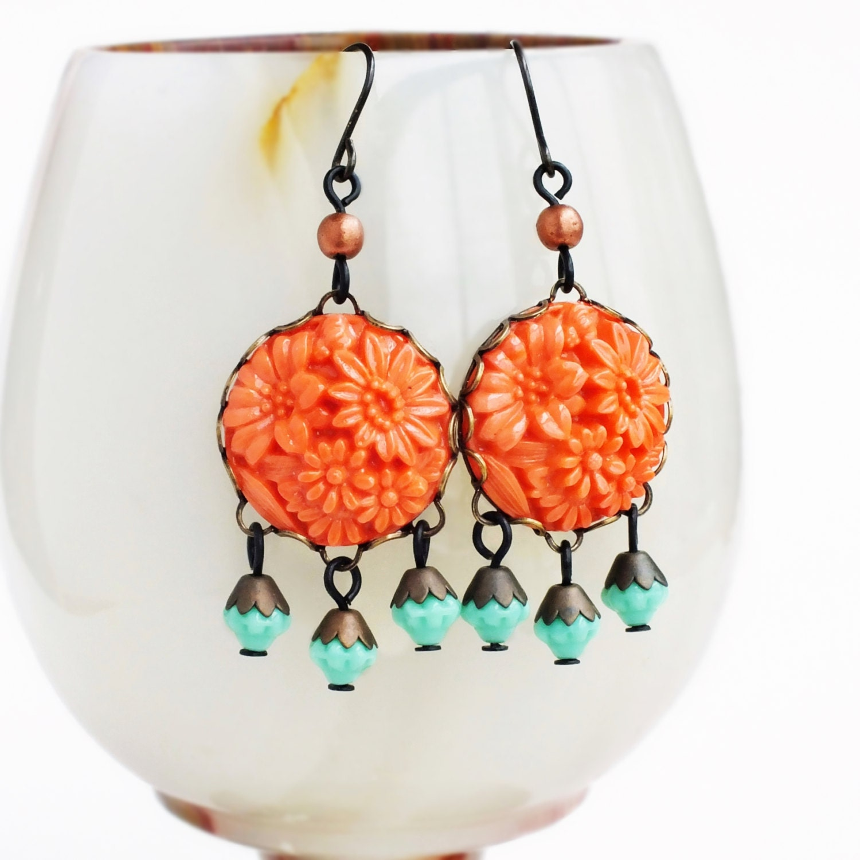 Orange Chandelier Earrings Carved Floral Dangles Bright