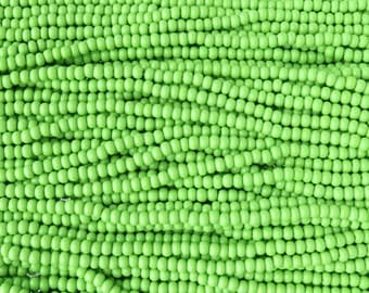 6/0 Opaque Lime Green Czech Glass Seed Bead Strand (CW182)
