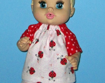Corolle Tidoo Or Calin Doll Clothes  Baby Alive All Gone Doll Clothes  12 or 13 inch Doll Clothes Ladybug Pajamas