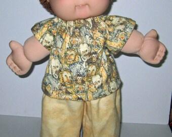 Cabbage Patch Kids  Doll Clothes Jungle Lion  Pajama Set   16  17 Inch Doll Clothes  Boy or Girl Doll Clothes