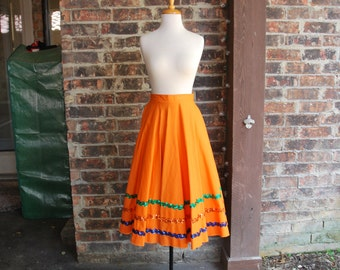 60's Dance Skirt with Sequins - Rockabilly Skirt - Foxtrot Swing Dance Punk Pinup - Custom Made Dance Costume  in Bright Orange