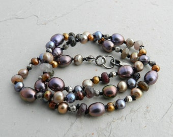 Rose, Bronze, Gray, Champagne Pearl & Tourmaline Gemstone Hand Knotted Strand Necklace
