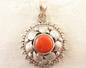 Vintage Round Coral Sterling Poison Pendant