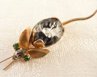 Antique Deco Austrian Crystal Art Glass Gold Tone Mouse Brooch