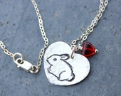 Bunny Love Necklace - handmade fine silver rabbit charm on sterling chain - with red glass heart - pet -  free shipping USA