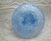 Vintage Moonglow Blue Glass Fleur de lis Button