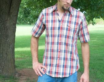 Vintage men's plaid button-down shirt / Racquet Club