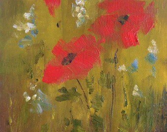 Field Flowers, 6x8 Oil on Canvas Panel, Floral Painting