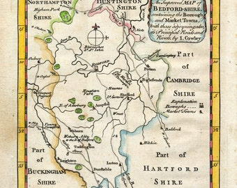 1744 Antique Map of Bedfordshire - Rare Bedfordshire County Map - Hand Coloured UK County Map - Unique Gift