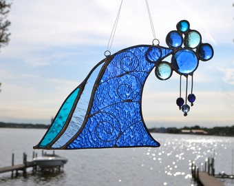Ocean Wave Stained Glass Suncatcher with German Jewel  Surfs up