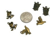 Owl Bird Mouse Charms, 6 pieces, Mouse Charms, Bird Charms, Findings, Supplies, Zipper Pull