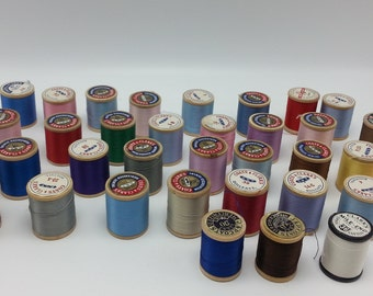 Lot of Vintage Wooden Spools of Sewing Thread - 38 Spools of Coats Clark Sewing Thread Wooded Spools