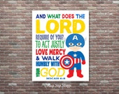 Micah 6:8, Seek Justice, Love Mercy, Walk Humbly, Boys Superhero Decor,Christian Bible Verse, INSTANT DOWNLOAD, Christian Superhero Wall Art