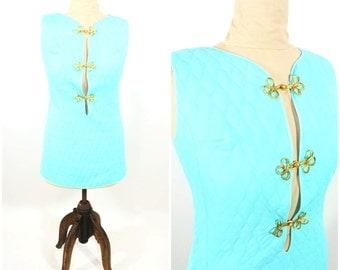 "1960s mini dress | 60s aqua quilted dress | vintage cutout shift dress | W 34"""
