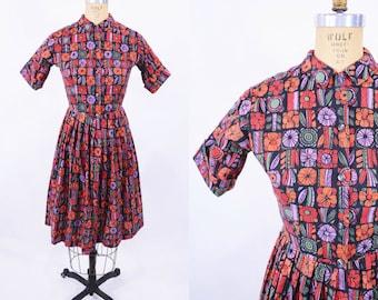 "1960s dress vintage 60s black orange floral print cotton day dress S W 25"""