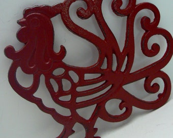Cast Iron Rooster Trivet Hot Plate Red Shabby Chic Kitchen Decor