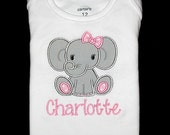 Custom Personalized Applique GIRL ELEPHANT and NAME Bodysuit or Shirt - Light Pink Polka Dot and Gray