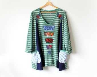 Boho Plus Size Women's Smock Top Reconstruct Shirt Wearable Art Country Clothing Patchwork Applique Upcycled Clothes Green Tunic 2X 'KELSEY'