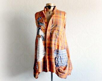 Orange Plaid Shirt Sleeveless Top Boho Women Wear Grunge Style Fray Tatter Clothes Bohemian Festival Burning Man Hippie Clothing L XL SANDEE