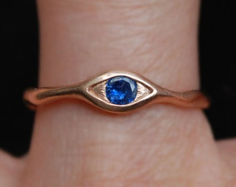Rose Gold and Natural Blue Sapphire Eye Ring-READY TO SHIP