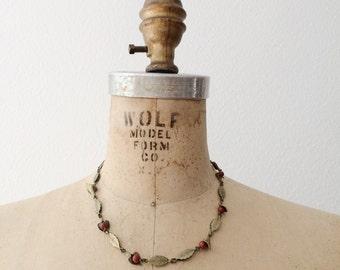 1940s necklace / vintage brass necklace / Calla Lily necklace