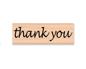 thank you rubber stamp~large stamp~three inches~script font~ stamp by Mountainside Crafts (43-01)