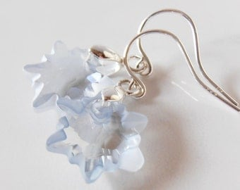 Crystal Snowflake Earrings Winter Wedding Jewelry Ice Blue Bridesmaid Earrings Holiday Jewelry Gift for Bridesmaid Under 25 Sterling Silver