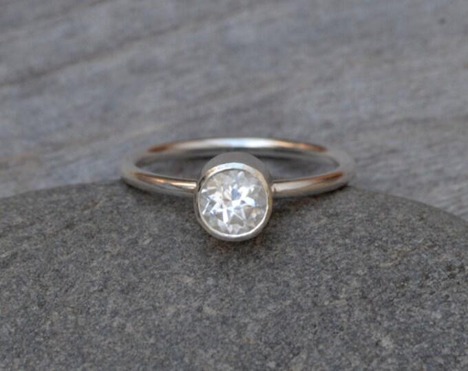 White Topaz Ring Set In Sterling Silver, Topaz Stacker, Topaz Solitaire Ring, Topaz Engagement Ring, November Birthstone Ring