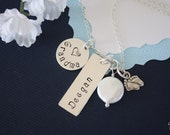 Grandma Necklace Personalize,  Mom Necklace, Sterling Silver name Charms, Mother, Nana, Gigi, GG, Gma, Baby Feed, Date, New