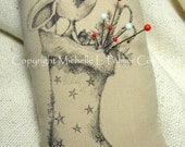 LARGE Rectangle Soft Sculpture Pincushion Pillow Pen Ink Fabric Illustration by Michelle Palmer Christmas Stocking Mouse Stars Candycane