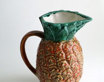 Pineapple pitcher, vintage ceramic pitcher, handmade, Hawaiian pinapple