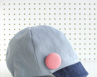KEPP JONES ---x--- Women's newsboy hat made from reclaimed Trouser in 'Fisherman Bleu' - S or M