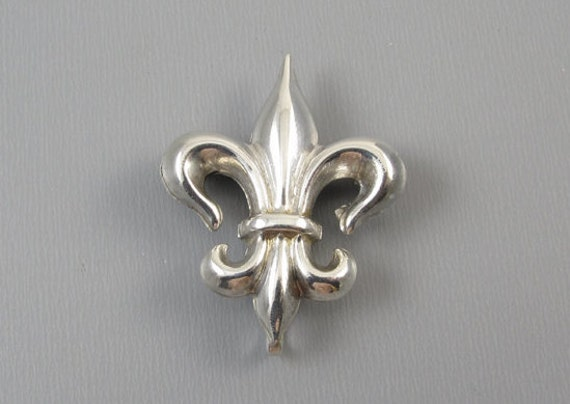 Antique Edwardian sterling silver fleur de lis brooch pin