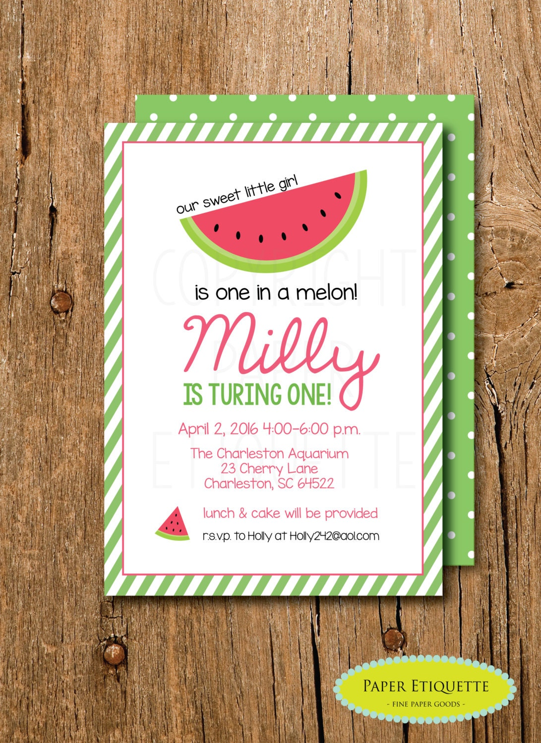 One In A Melon Birthday Invitation Oh What Fun Turning One