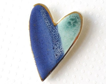 Ceramic Heart Brooch. Jade Green & Cobalt Blue. Ocean Blue. Mint Green. Porcelain. Blue Green. Denim Blue. Clay. 22K Gold Edge. Valentine