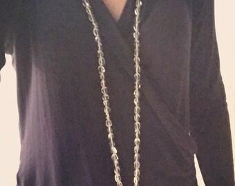 Long Tassel Quartz Pearl and Prenite Necklace