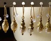 Pearl Earrings Glass Pearls Vermeil  Wires Bridal, Bridesmaid, Vintage Style FWP109
