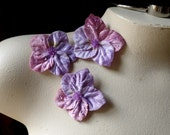 SALE 3 Beaded Flower Appliques in Pink & Lilac Velvet for Lyrical Dance, Headbands, Baby Accessories
