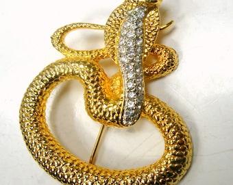 COBRA Snake Pin, Rhinestone a Hooded w Green Eye Gold Serpent Brooch, 1980s Unused Sample Reptile