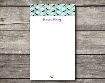 "Personalized 3.4"" x 5.75"" Aqua Pink & White Floral Notepad Graduation Gift Gifts for Girls Teacher Gift Coworker Gift or Personal Stationery"