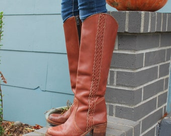 Vintage Boho Campus Boots Tall Knee High Brown Leather